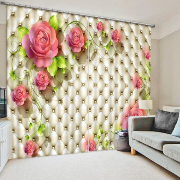 Stylish Pink Rose Curtain Set
