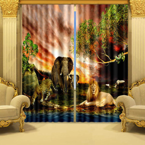 Stylish Wildlife Curtain Set