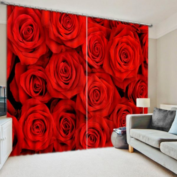 Digitally Printed 3D Rose Curtain set