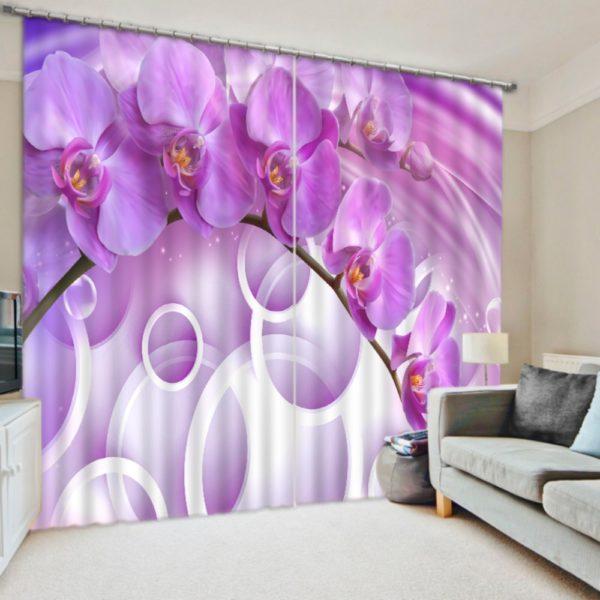 Digitally Printed 3D Purple Flower Curtain set