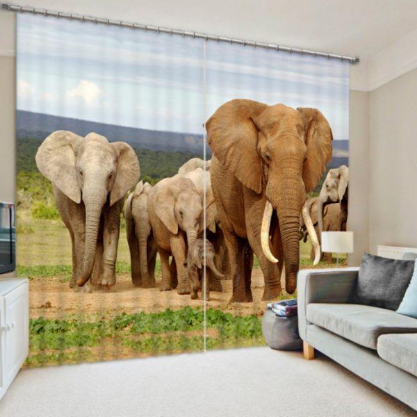 Digitally Printed Elephant Herd Curtain set
