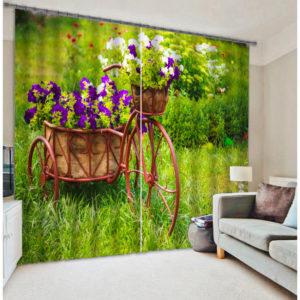 Digitally Printed Blossom Design Curtain set
