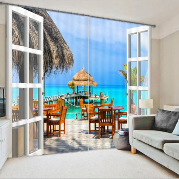 Digitally Printed Beach Curtain set