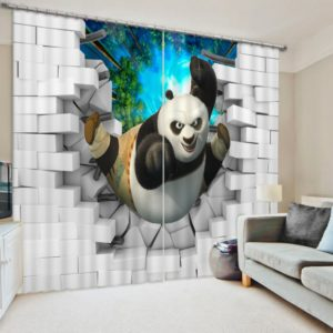 Charming 3D Kung-Fu Print  Curtain Set