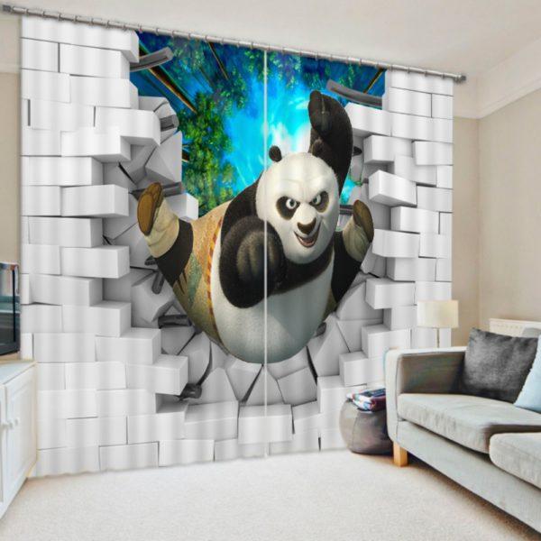 Charming 3D Kung-Fu Print  Curtain Set
