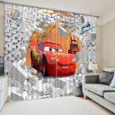 Charming 3D Car Themed Print  Curtain Set