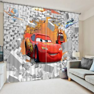 Charming 3D Car Themed Print Curtain Set
