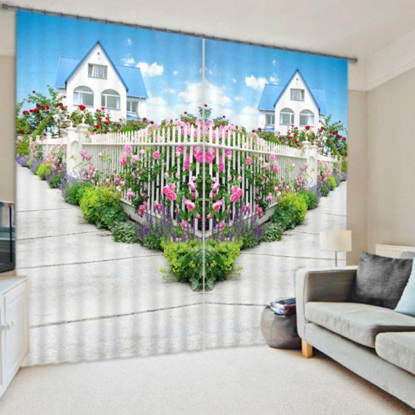 Charming Floral Print  Curtain Set