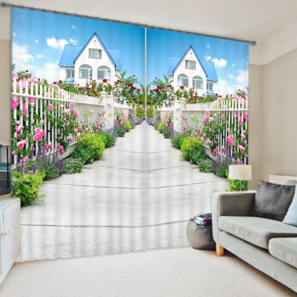 Flower And Cottage Curtain set