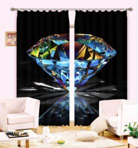 Elegant Diamond Picture Curtain Set