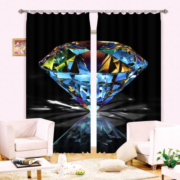 Elegant Diamond Picture Curtain Set