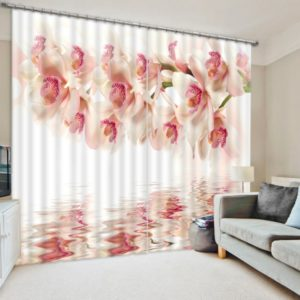 White Floral Curtain Set