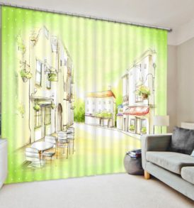 Stylish Coffee themed Curtain Set
