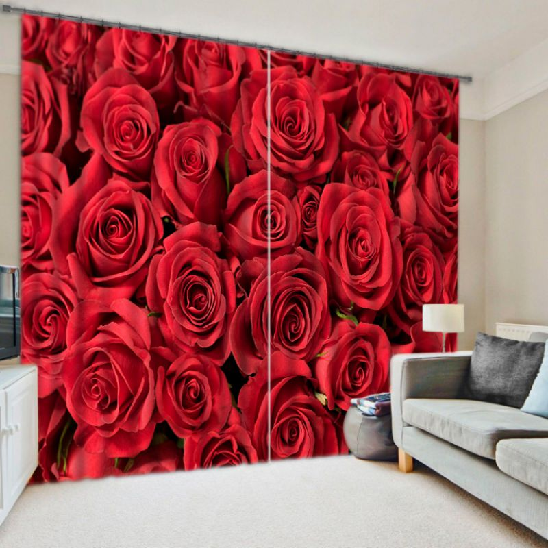 Charming Red Rose Curtain Set Ebeddingsets