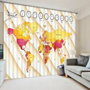 Graceful World Map Themed Curtain Set