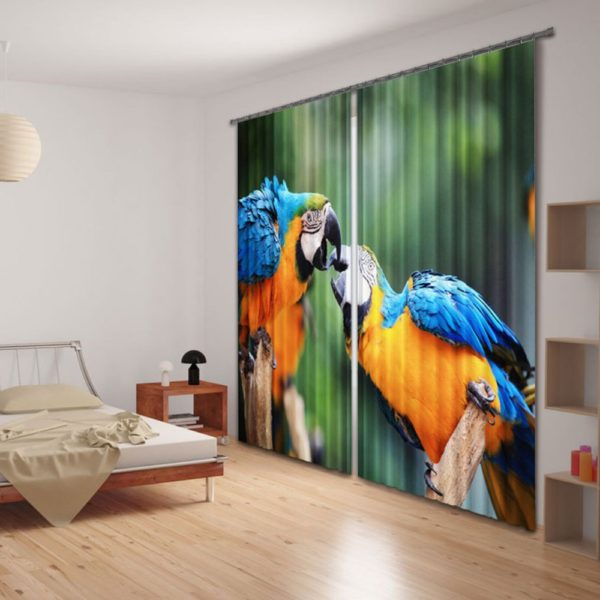 Colourful Parrot Picture Curtain Set