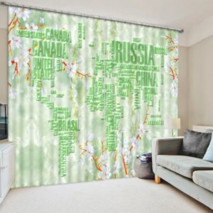 Charming White And Green Curtain Set