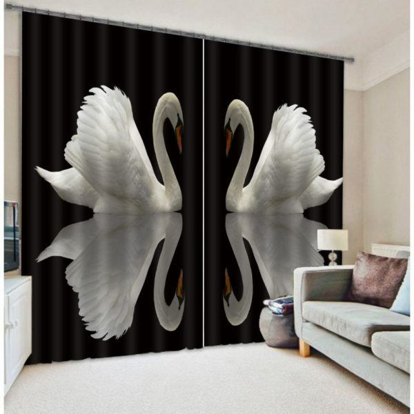 Monochrome Swan Curtain Set