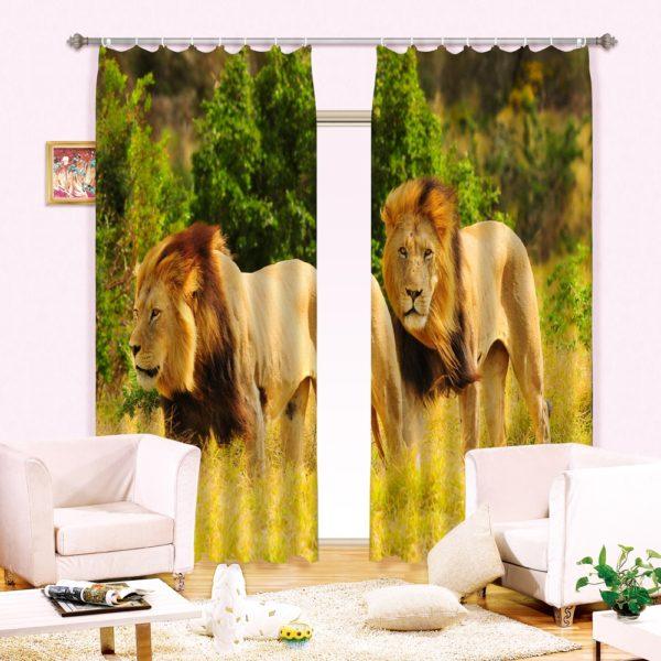 59amazon zpsinivelog 600x600 - Lion Animal Print Curtain Set