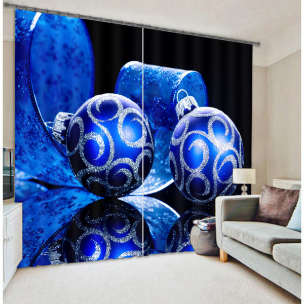 Amazing Christmas Themed Blue Curtain set