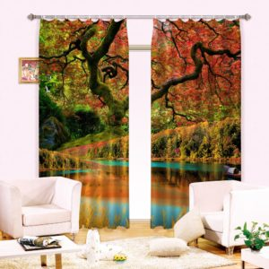Unique Autumn Themed White  Curtain set