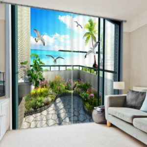 Appealing Beach Picture Curtain set