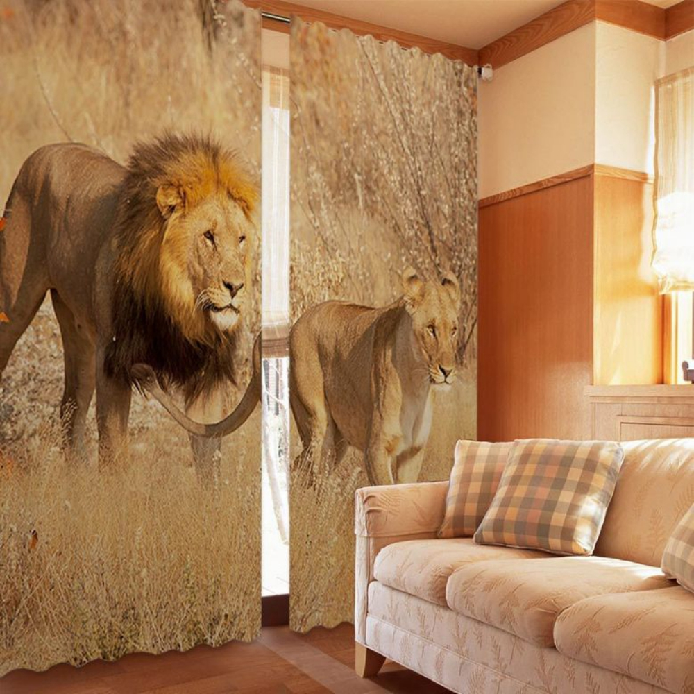Trendy Lion And Lioness Curtain Set