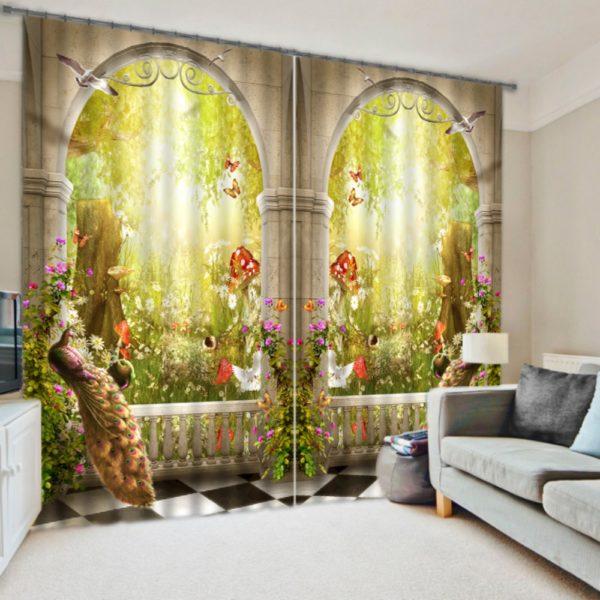 Exquisite Peacock Curtain set