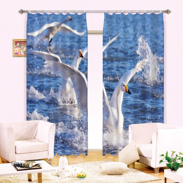 62amazon zpsthwotm0l 600x600 - Lovely Swan Curtain Set