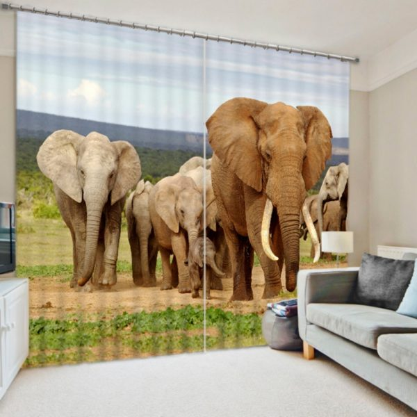 Charming Curtain Set With Elephant Theme
