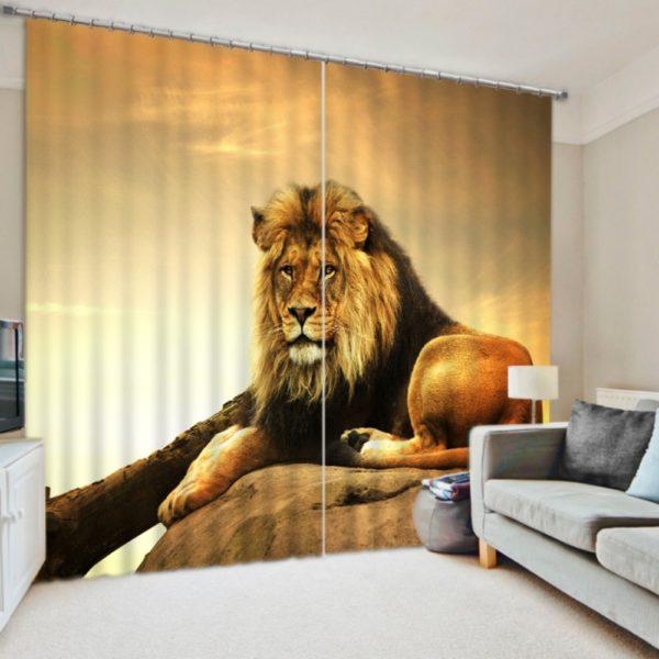 Gorgeous Lion Picture Curtain Set