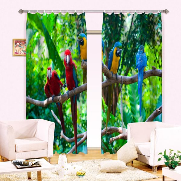 Colorful Parrots Picture Curtain Set