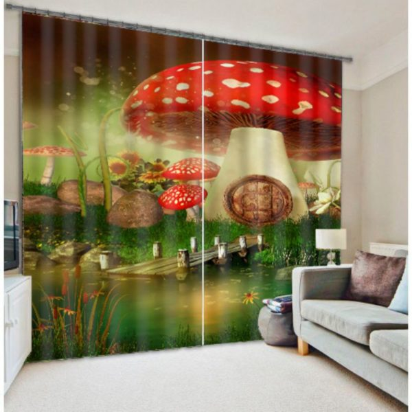 White And Red Mushroom Curtain set