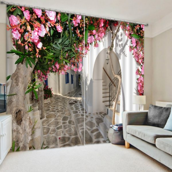 White And Pink Floral Curtain Set