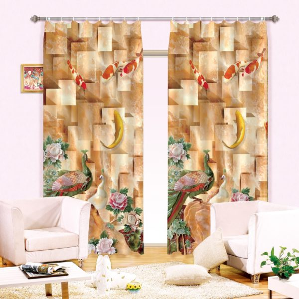 67amazon zpskiht4ylb 600x600 - Majestic Peacock Picture Curtain Set