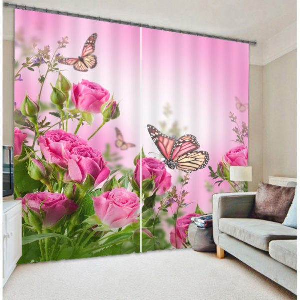 Rose And Butterfly Curtain Set