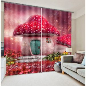 Exquisite Red Mushroom Curtain set