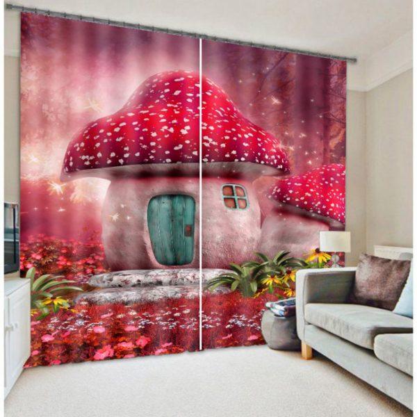 Exquisite Red Mushroom Curtain set