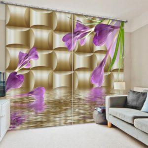 Light Purple And Golden 3D Curtain set