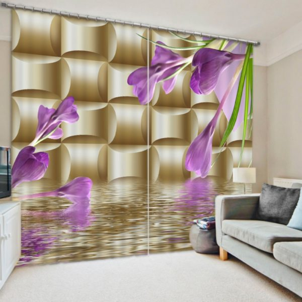Light Purple And Golden 3D Curtain set