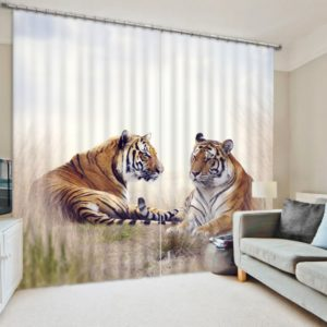 Vibrant Tiger Themed Curtain set