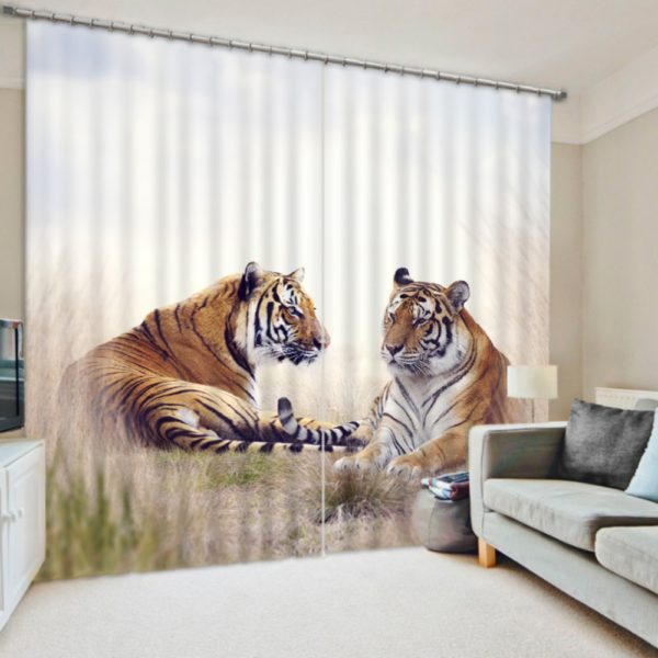Vibrant Tiger Themed Curtain set