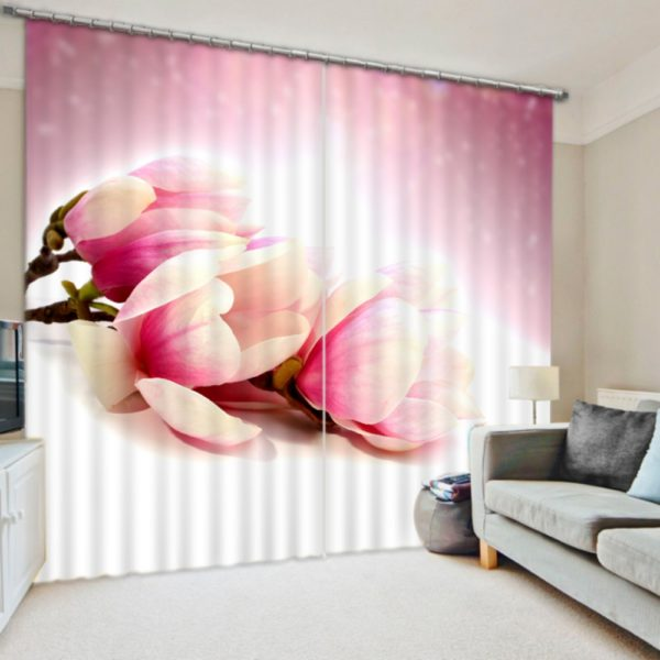 Elegant Pink Floral Curtain Set