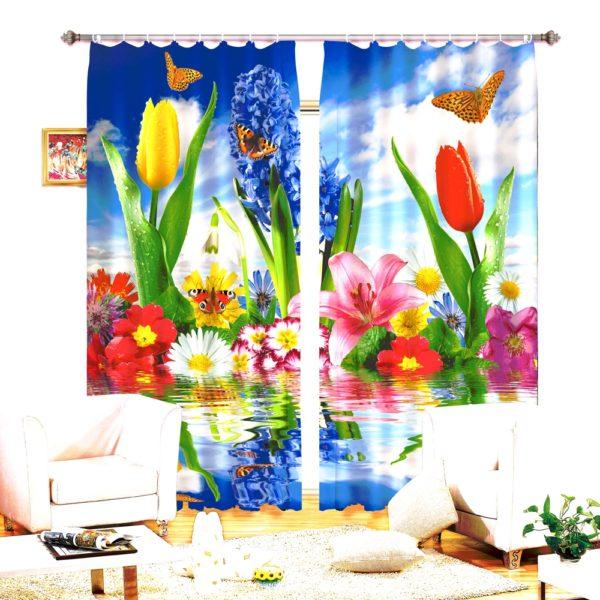 70amazon zpsbwxr5tcs 600x600 - Enchanting Flowers Curtain Set