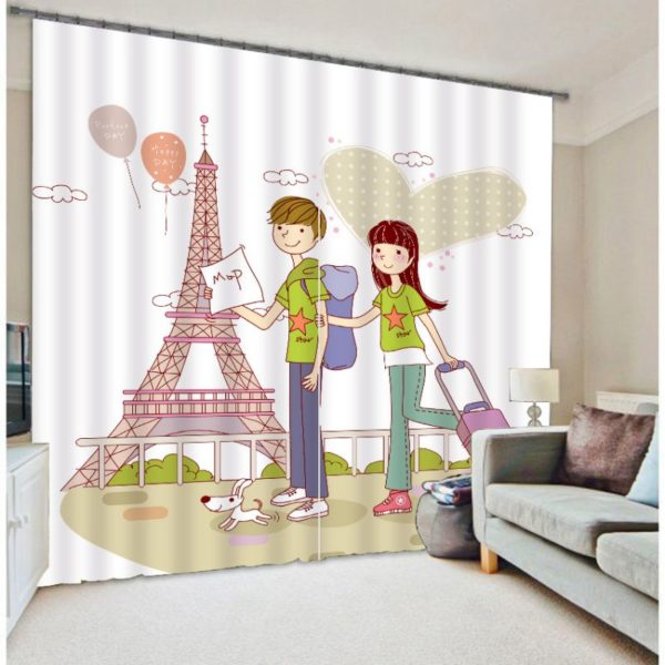 Lovely Eifel Tower Themed Curtain set