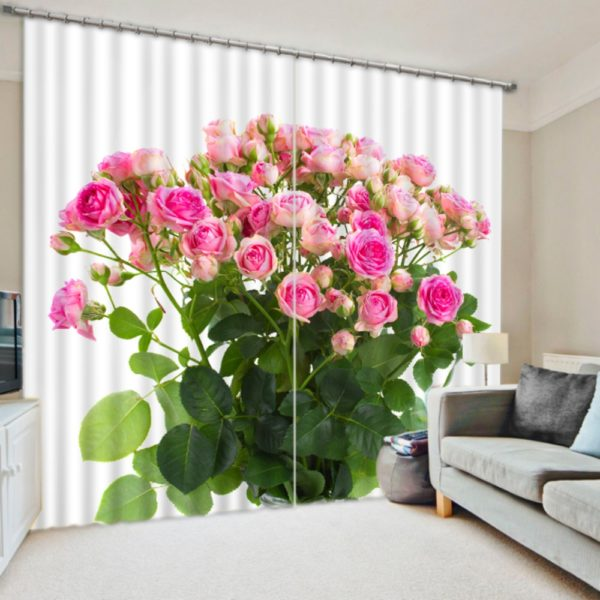 Rose Themed Picture Curtain Set