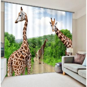 Awesome curtain Set With Giraffe Theme