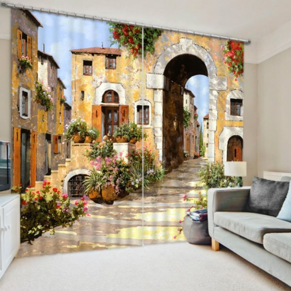 Fantastic Street Picture Curtain Set