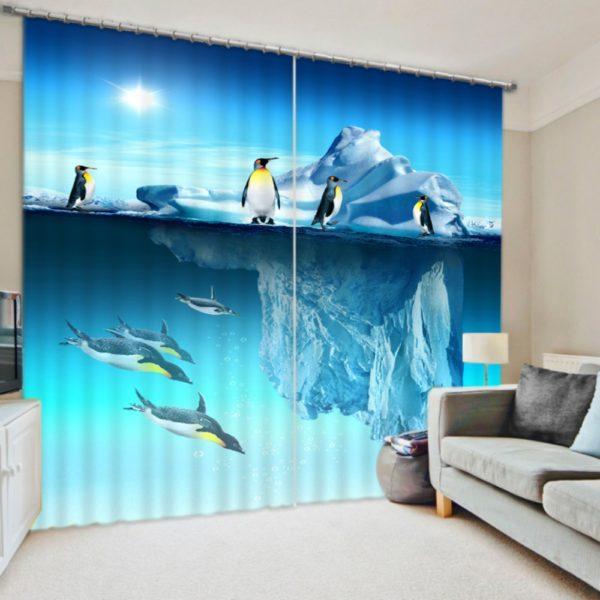 Elegant Penguin Picture Curtain Set