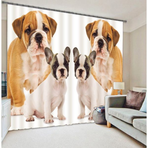 Gorgeous Puppy Picture Curtain Set